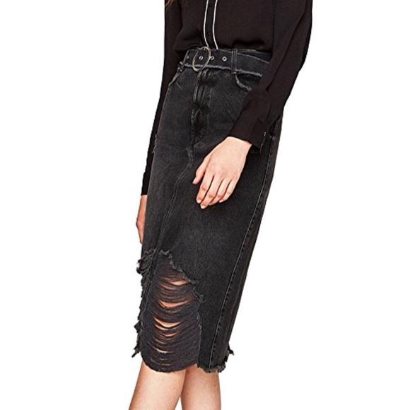97387788717 Zara Skirts | Midi Distressed Black Denim Skirt Medium | Poshmark